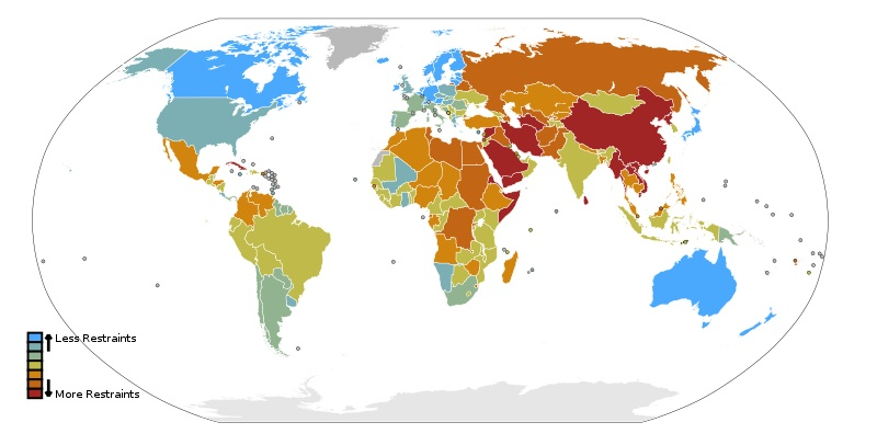 101021 Reporters Without Borders 2009 Press Freedom Rankings Map 国境なき記者団によるジャーナリズム自由度指数