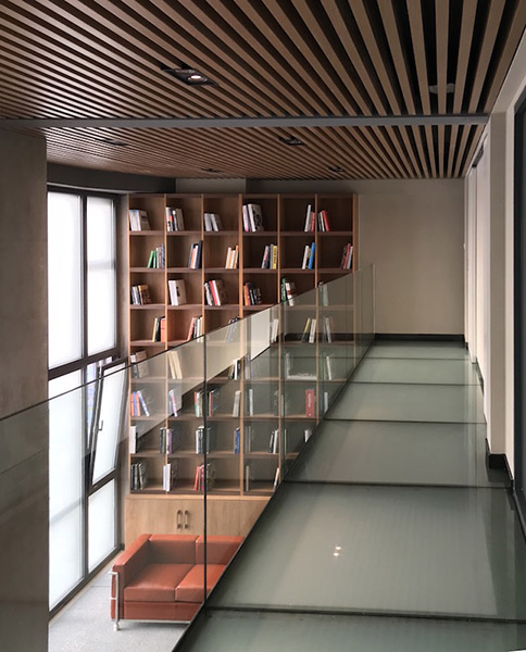 Glass corridor with bookshelf view