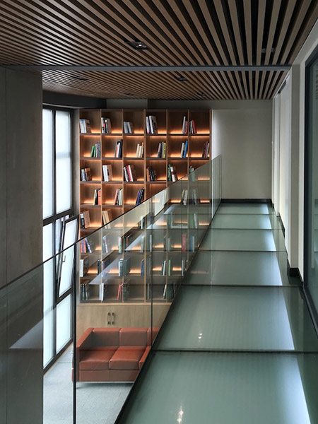 Glass corridor with bookshelf - Lit condition
